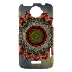 Folk Art Lotus Mandala Dirty Blue Red HTC One X Hardshell Case