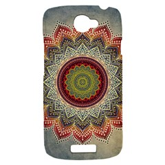 Folk Art Lotus Mandala Dirty Blue Red HTC One S Hardshell Case