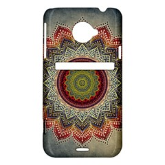 Folk Art Lotus Mandala Dirty Blue Red HTC Evo 4G LTE Hardshell Case