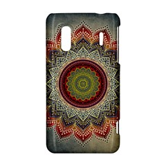 Folk Art Lotus Mandala Dirty Blue Red HTC Evo Design 4G/ Hero S Hardshell Case