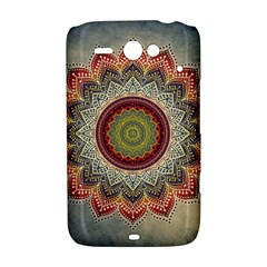 Folk Art Lotus Mandala Dirty Blue Red HTC ChaCha / HTC Status Hardshell Case