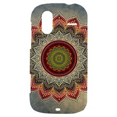 Folk Art Lotus Mandala Dirty Blue Red HTC Amaze 4G Hardshell Case