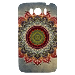 Folk Art Lotus Mandala Dirty Blue Red HTC Sensation XL Hardshell Case