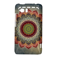 Folk Art Lotus Mandala Dirty Blue Red HTC Vivid / Raider 4G Hardshell Case