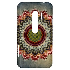 Folk Art Lotus Mandala Dirty Blue Red HTC Evo 3D Hardshell Case