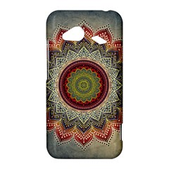 Folk Art Lotus Mandala Dirty Blue Red HTC Droid Incredible 4G LTE Hardshell Case