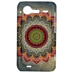 Folk Art Lotus Mandala Dirty Blue Red HTC Incredible S Hardshell Case