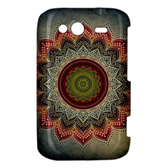Folk Art Lotus Mandala Dirty Blue Red HTC Wildfire S A510e Hardshell Case