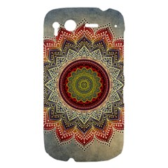 Folk Art Lotus Mandala Dirty Blue Red HTC Desire S Hardshell Case