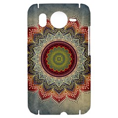 Folk Art Lotus Mandala Dirty Blue Red HTC Desire HD Hardshell Case