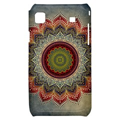 Folk Art Lotus Mandala Dirty Blue Red Samsung Galaxy S i9000 Hardshell Case