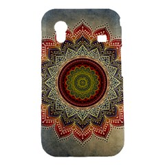 Folk Art Lotus Mandala Dirty Blue Red Samsung Galaxy Ace S5830 Hardshell Case