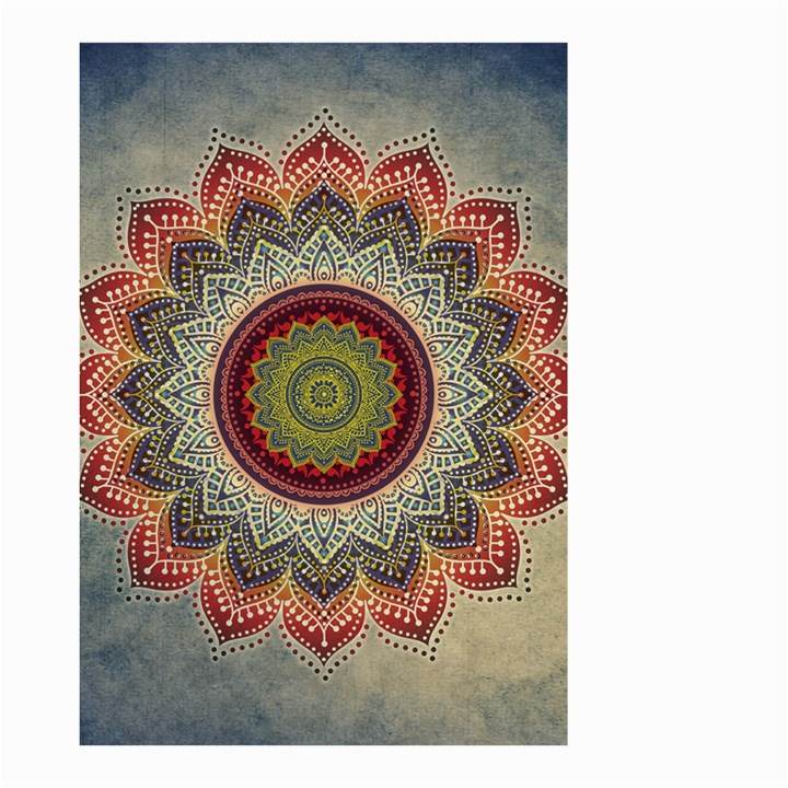 Folk Art Lotus Mandala Dirty Blue Red Small Garden Flag (Two Sides)