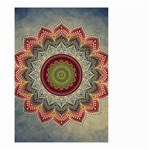 Folk Art Lotus Mandala Dirty Blue Red Small Garden Flag (Two Sides) Back