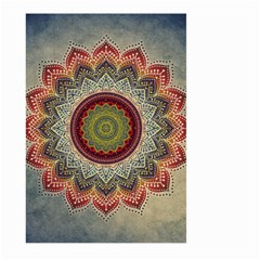 Folk Art Lotus Mandala Dirty Blue Red Large Garden Flag (two Sides)