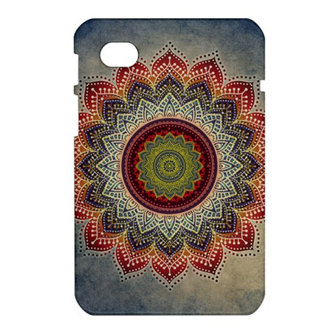 Folk Art Lotus Mandala Dirty Blue Red Samsung Galaxy Tab 7  P1000 Hardshell Case
