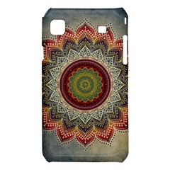 Folk Art Lotus Mandala Dirty Blue Red Samsung Galaxy S i9008 Hardshell Case
