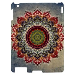 Folk Art Lotus Mandala Dirty Blue Red Apple iPad 2 Hardshell Case