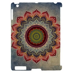 Folk Art Lotus Mandala Dirty Blue Red Apple iPad 2 Hardshell Case (Compatible with Smart Cover)
