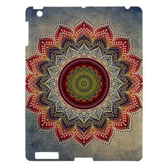 Folk Art Lotus Mandala Dirty Blue Red Apple iPad 3/4 Hardshell Case