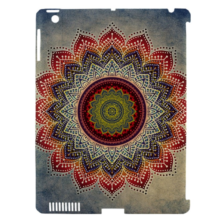 Folk Art Lotus Mandala Dirty Blue Red Apple iPad 3/4 Hardshell Case (Compatible with Smart Cover)