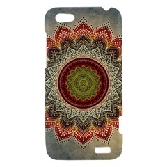 Folk Art Lotus Mandala Dirty Blue Red HTC One V Hardshell Case