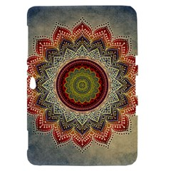 Folk Art Lotus Mandala Dirty Blue Red Samsung Galaxy Tab 8.9  P7300 Hardshell Case