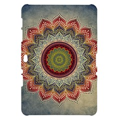 Folk Art Lotus Mandala Dirty Blue Red Samsung Galaxy Tab 10.1  P7500 Hardshell Case