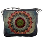 Folk Art Lotus Mandala Dirty Blue Red Messenger Bags Front