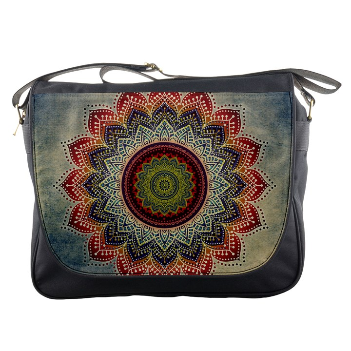 Folk Art Lotus Mandala Dirty Blue Red Messenger Bags