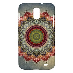 Folk Art Lotus Mandala Dirty Blue Red Samsung Galaxy S II Skyrocket Hardshell Case