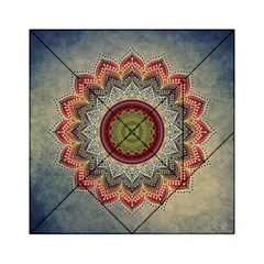 Folk Art Lotus Mandala Dirty Blue Red Acrylic Tangram Puzzle (6  x 6 )