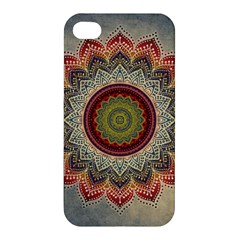 Folk Art Lotus Mandala Dirty Blue Red Apple Iphone 4/4s Premium Hardshell Case