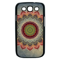 Folk Art Lotus Mandala Dirty Blue Red Samsung Galaxy S III Case (Black)