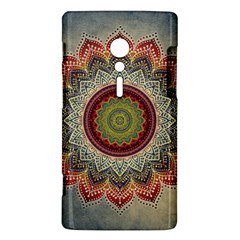 Folk Art Lotus Mandala Dirty Blue Red Sony Xperia ion