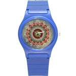 Folk Art Lotus Mandala Dirty Blue Red Round Plastic Sport Watch (S) Front