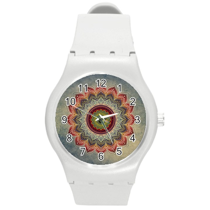 Folk Art Lotus Mandala Dirty Blue Red Round Plastic Sport Watch (M)