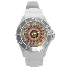 Folk Art Lotus Mandala Dirty Blue Red Round Plastic Sport Watch (L)