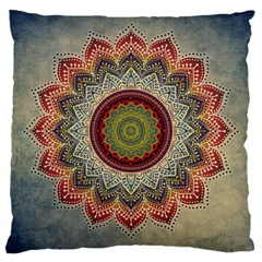 Folk Art Lotus Mandala Dirty Blue Red Large Cushion Case (one Side)