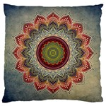 Folk Art Lotus Mandala Dirty Blue Red Large Cushion Case (Two Sides) Front