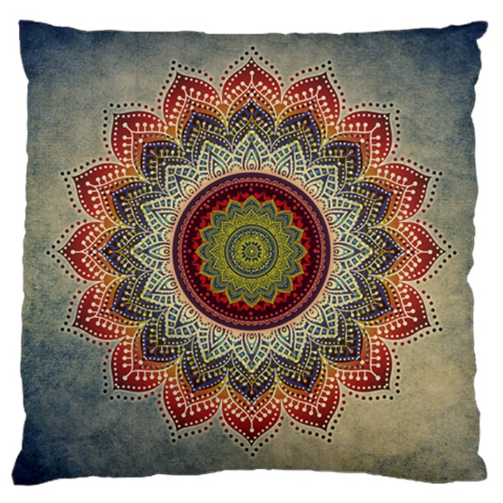 Folk Art Lotus Mandala Dirty Blue Red Large Cushion Case (Two Sides)