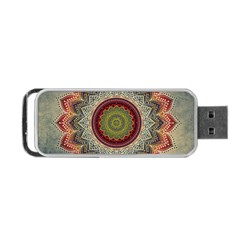 Folk Art Lotus Mandala Dirty Blue Red Portable Usb Flash (one Side)