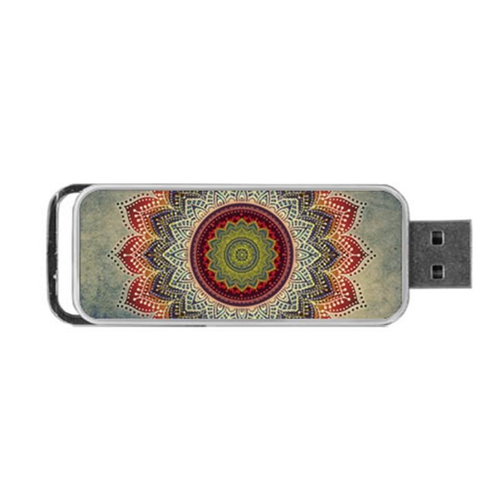 Folk Art Lotus Mandala Dirty Blue Red Portable USB Flash (Two Sides)