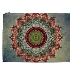 Folk Art Lotus Mandala Dirty Blue Red Cosmetic Bag (XXL)