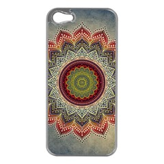 Folk Art Lotus Mandala Dirty Blue Red Apple Iphone 5 Case (silver)
