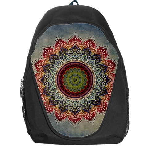 Folk Art Lotus Mandala Dirty Blue Red Backpack Bag