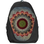 Folk Art Lotus Mandala Dirty Blue Red Backpack Bag Front