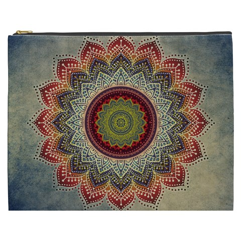 Folk Art Lotus Mandala Dirty Blue Red Cosmetic Bag (XXXL)