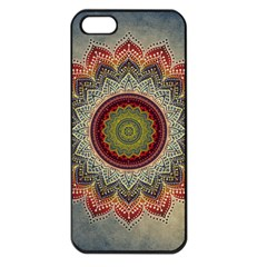 Folk Art Lotus Mandala Dirty Blue Red Apple Iphone 5 Seamless Case (black)