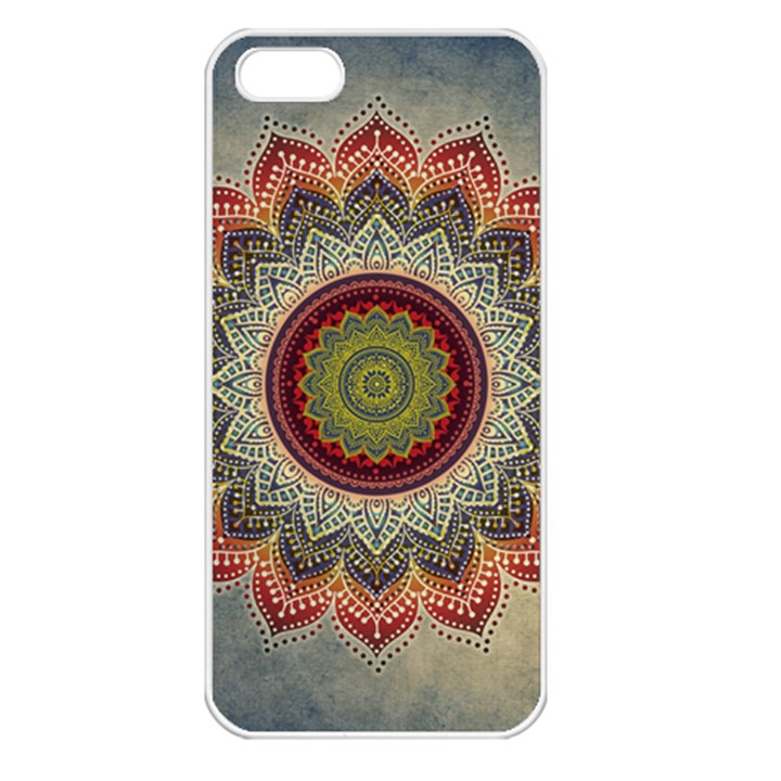 Folk Art Lotus Mandala Dirty Blue Red Apple iPhone 5 Seamless Case (White)